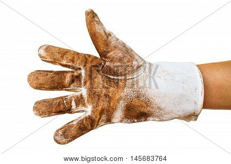 Man hand wearing disposable dirty leather work glove Isolated on white with clipping path