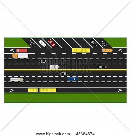 Road infographics. Plot road, highway, street parking. With different cars. Congestion and parking cards. Top view of the highway. Vector illustration