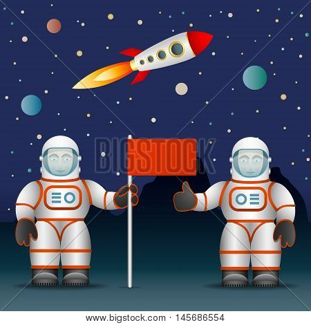 The astronauts on the planet's surface a flag. Space and Astronautics. The rocket and the starry sky. Vector graphics.