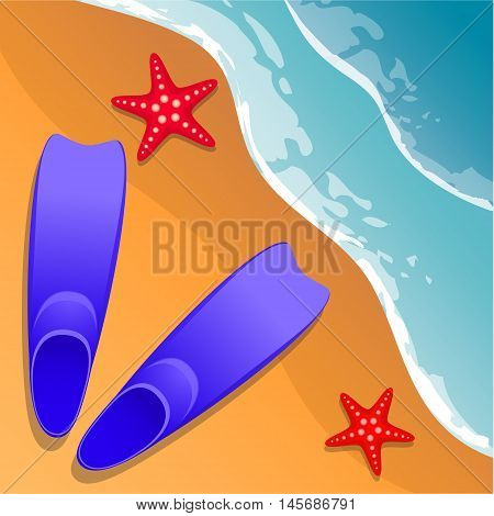 Beach background. Flippers and starfish on the sand. Sea shore. Flat style. Cartoon. Vector Image.