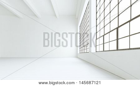 Blank modern industrial room with huge panoramic windows, painted white wood floor, empty walls.3D rendering.Generic design interior contemporary building.Open space business conference hall.Horizontal
