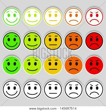 Set of Emoticons. Emoji rank, level, load. Excellent, good, normal, bad, awful. Isolated on white background.