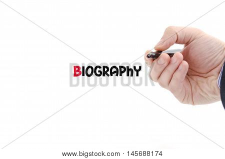 Biography text concept isolated over white background