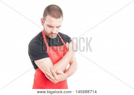 Supermarket Young Employee Having Elbow Inflammation