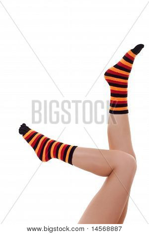 Woman Relaxing And Wearing Zebrine Socks