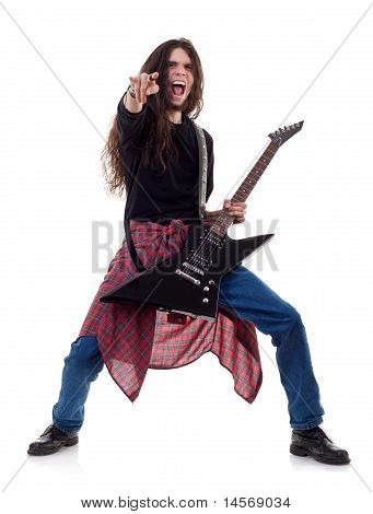 Heavy Metal Guitarist Playing The Guitar
