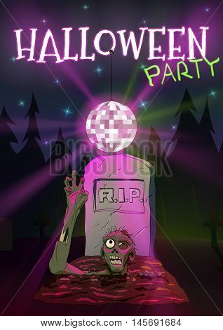 Zombie pulls hand to the Discoball. Invitation to Halloween party. Vector illustration