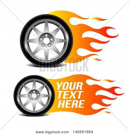 Car wheel with fire flame, car related sign. Vector illustration