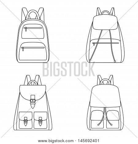 Set of outlines of backpacks, vector illustration