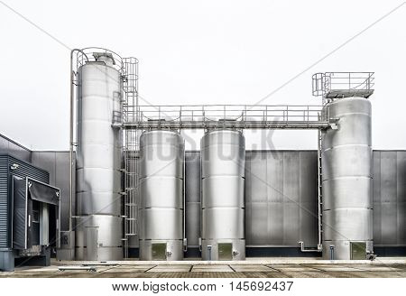 large metal silos for the food processing industry