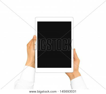 Hand holding blank tablet mock up isolated. New portable pc screen presentation. Empty display device mockup. Space touchscreen gadget hold in hands. White hd wide screen monitor holder.