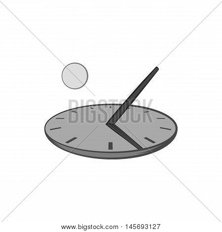 Sundial icon in black monochrome style isolated on white background. Time symbol. Vector illustration
