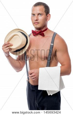A Male Stripper At The Party In The Role Of Waiter