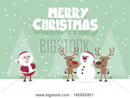 Merry Christmas Cute Santa, Reindeer And Snowman. Flat Vector Xmas Card