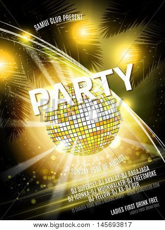 Vector Party Flyer Design with disco ball on shiny background. Yellow Eps10 illustration.