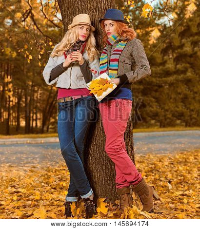 Fall Fashion. Woman in Stylish Autumn Outfit walk in park. Sisters Best Friends Model in fashion knitted autumn clothes. Fall leaves around. Girl Relax Enjoy nature. Autumn fashion outdoor background