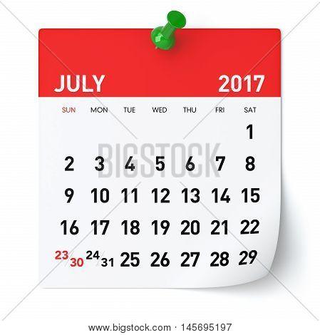 July 2017 - Calendar