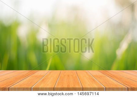 Wooden board empty table in front of blurred background. Perspective brown wood over blur trees in forest - can be used mock up for display or montage your products. spring season. vintage filtered.