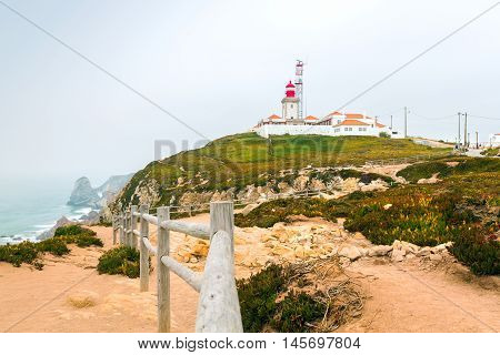 View of the lighthouse and cliff to the ocean, Cabo da Roca, Sintra, Portugal