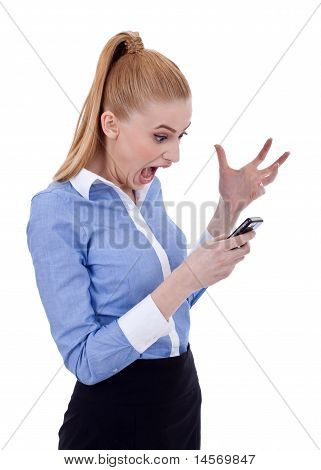 Angry Businesswoman On Mobile Phone