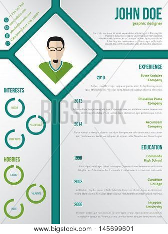 Modern cv resume curriculum vitae template design with photo in rhomb