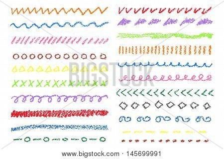 Wax crayon colored borders set. Vector illustration.