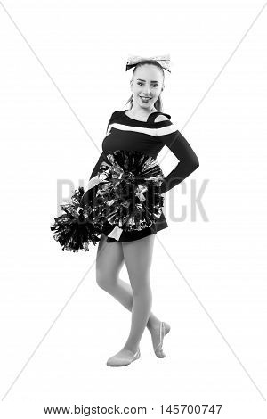 Young Professional Cheerleader With Pom-pom In Your Hand Posing At Studio. Isolated Over White.