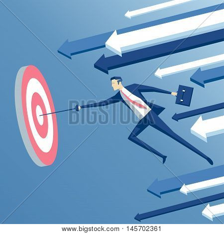 businessman with a rapier jumps and hits the target business concept goal and win