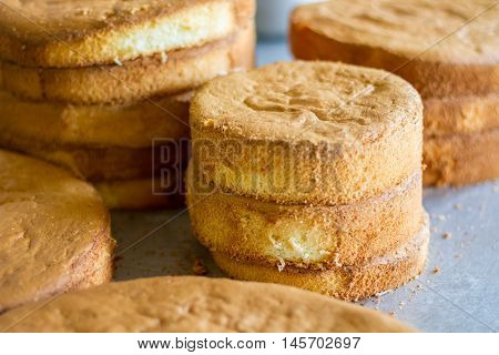 Stack of pies. Cooked dough of round shape. Simple and nutricious cake. Prepare tasty pastry at home.