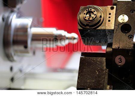Close up of single spindle CNC turning machine.