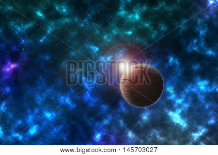unknowed imaginary planet in a beautiful space, Elements of this image furnished by NASA
