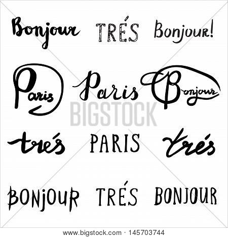 Hand Drawn French Phrases Collection.
