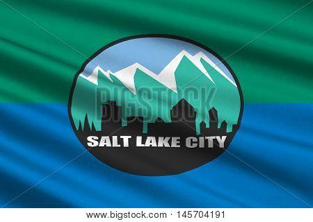 Flag of Salt Lake City is the capital state of Utah USA. 3D illustration