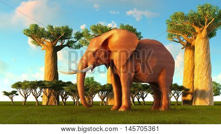 3d illustration of the elephant walking near baobab trees