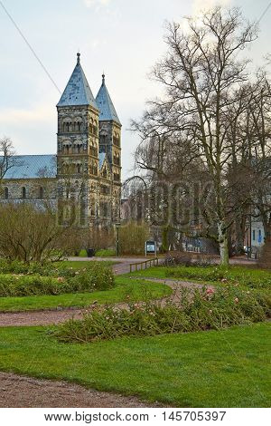 Cathedral and park in Lund, Sweden