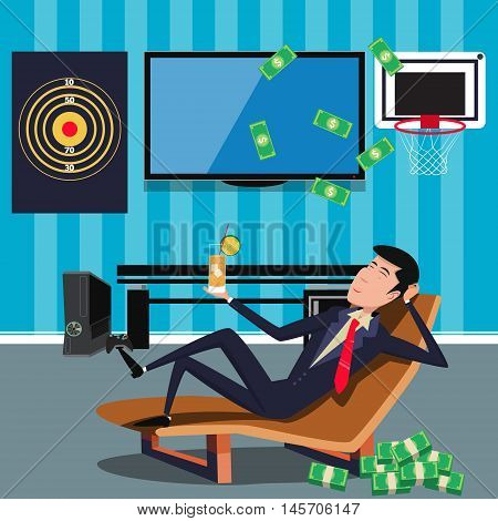 Businessman relaxing at the office. Resting guy. Cartoon colorful vector illustration
