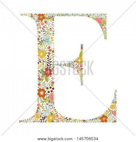 E letter with decorative floral ornament