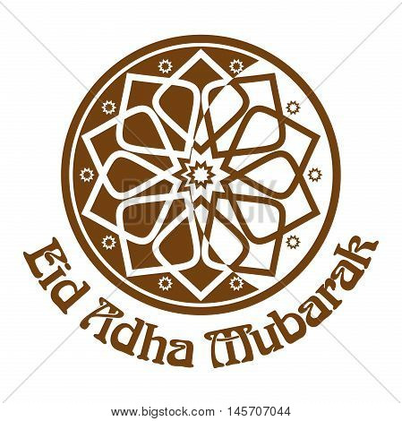 Eid al-Adha - Festival of the Sacrifice Bakr-Eid. Ornament icon and lettering - Eid Adha Mubarak. Illustration isolated on white background