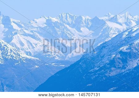 Snow Mountain Range Landscape with Blue Sky from Matterhorn Switzerland