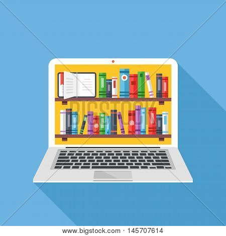 Bookshelves with books on laptop screen. Online digital library. Modern concepts for web sites, web banners, printed materials. Creative flat design vector illustration