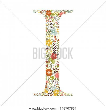 I letter with decorative floral ornament