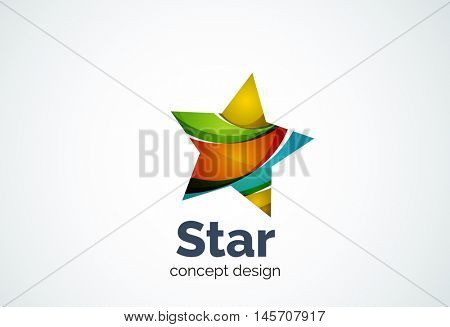Star logo template, rating or best choice concept. Modern minimal design logotype created with geometric shapes - circles, overlapping elements