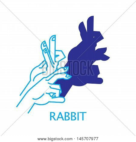 Shadow Hand Puppet Rabbit. Vector Illustration of Shadow Hand Puppet Isolated on a White Background. Shadow Theatre or Shadow Play. Icon of Shadow Hand Puppet Rabbit in Mix Style.