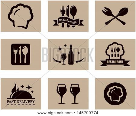 set of nine concept background for napkin or restaurant menu