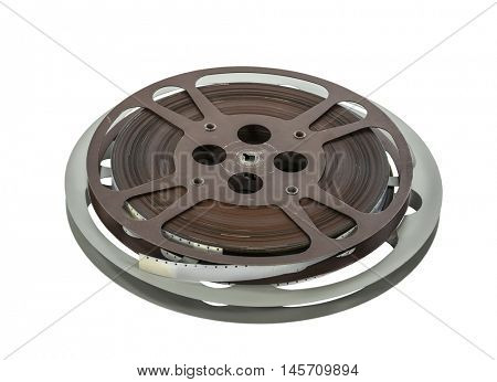 Vintage 16 mm film reels isolated on white.