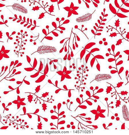 Christmas red floral seamless vector pattern with holly, mistletoe and poinsettia.