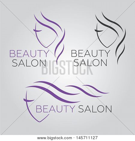 Beautiful woman vector logo template for hair salon beauty salon cosmetic procedures