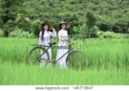 Two girls in Vietnamese's traditional costumes - Long-dress (the Ao dai - Vietnamese) - and Royal Poinciana road (Delonix Regia). The charming beauty of Vietnam women.