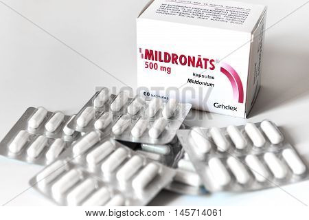 Riga Latvia - August 29 2016: Meldonium (also known as Mildronate) capsules. Meldonium may be used to treat coronary artery disease. It can also improve physical capacity and mental function. Meldonium was added to the World Anti-Doping Agency (WADA)
