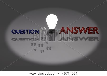 Question and answer,think idea concept,think as a light bulb,spotlight to highlight ,must think to find an answer concept, 3d rendering illustration